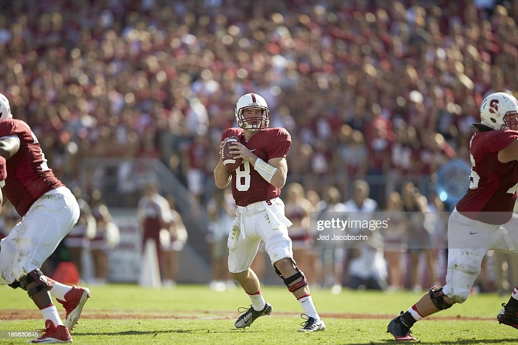 Stanford QB Kevin Hogan (8) in action, passing vs UCLA at Stanford Stadium. Jed Jacobsohn F421 )