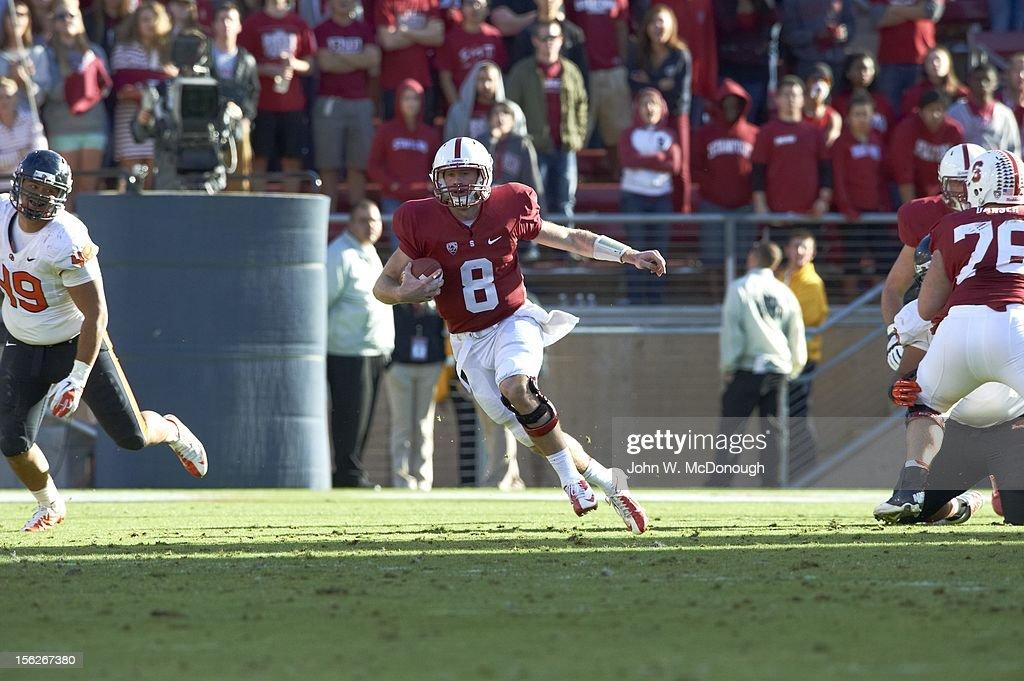 Stanford QB Kevin Hogan (8) in action, rushing vs Oregon State at Stanford Stadium. John W. McDonough F461 )
