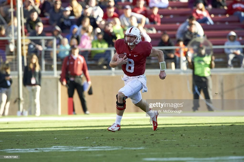 Stanford QB Kevin Hogan (8) in action, rushing vs Oregon State at Stanford Stadium. John W. McDonough F10 )