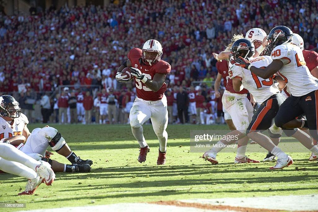 Stanford Stepfan Taylor (33) in action, rushing vs Oregon State at Stanford Stadium. John W. McDonough F129 )