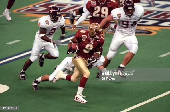 Sugar Bowl Florida State Peter Warrick in action vs Virginia Tech at Louisiana Superdome New Orleans LA CREDIT Bill Frakes