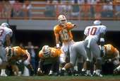 College Football Tennessee QB Peyton Manning calling signals at line of scrimmage during game vs Washington State Knoxville TN 10/1/1994