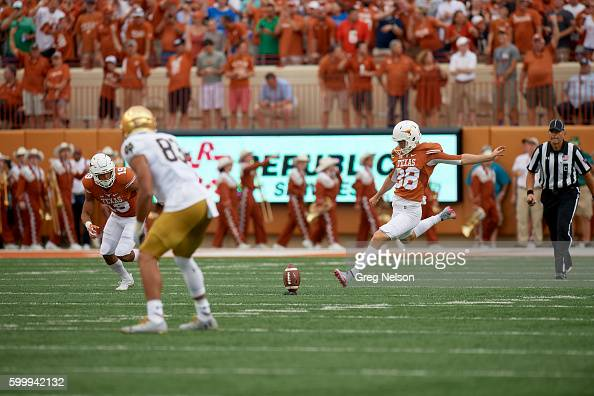 Texas Mitchell Becker in action punting vs Notre Dame at Darrell K RoyalTexas Memorial Stadium Austin TX CREDIT Greg Nelson