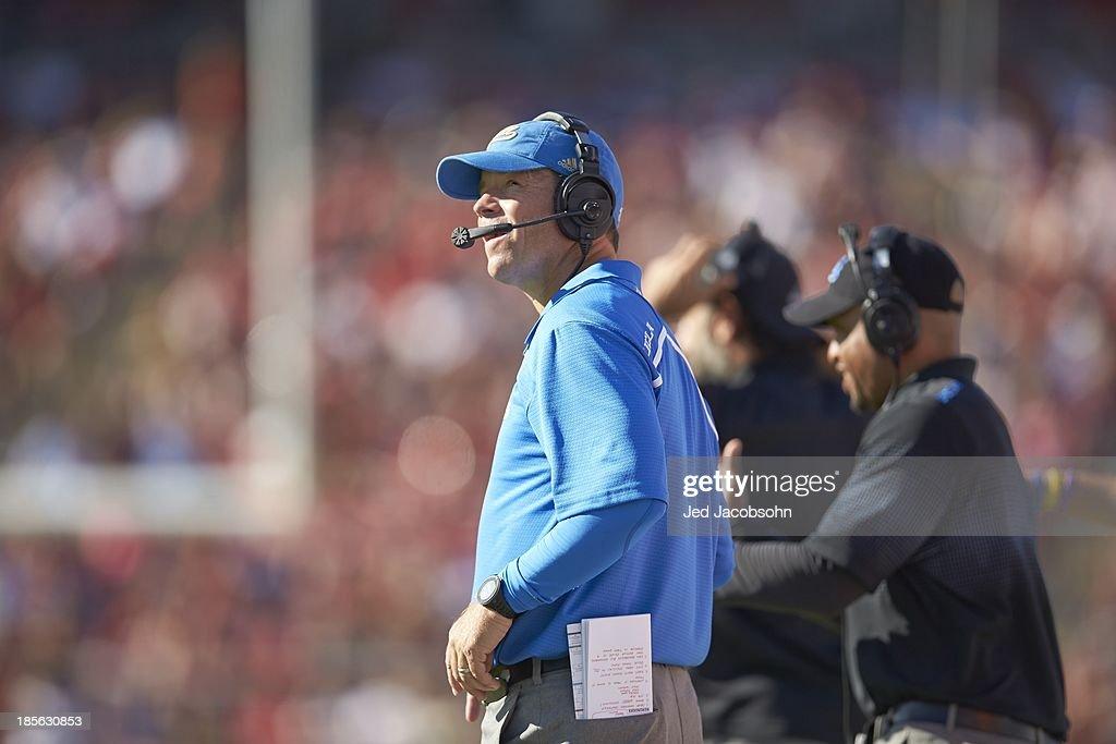 UCLA coach Jim Mora during game vs Stanford at Stanford Stadium. Jed Jacobsohn F156 )