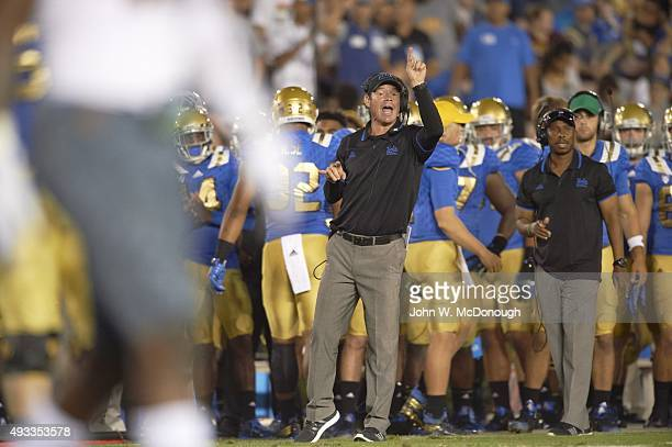 UCLA coach Jim Mora on sidelines during game vs Arizona State at Rose Bowl Stadium Pasadena CA CREDIT John W McDonough