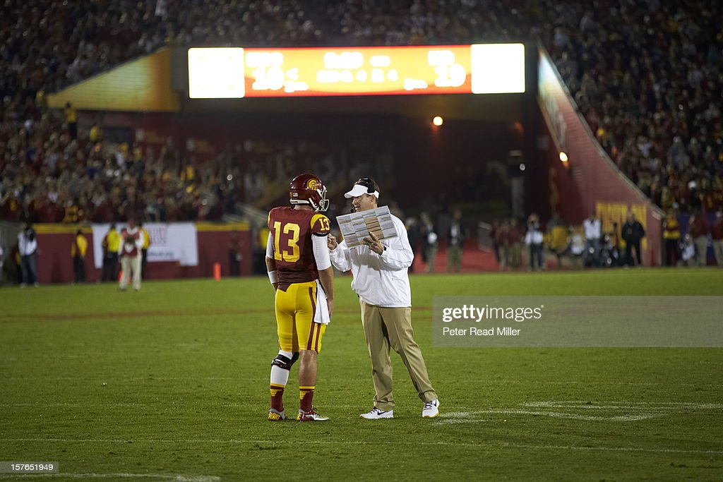 USC coach Lane Kiffin with QB Max Wittek (13) during game vs Notre Dame Los Angeles Memorial Coliseum. Peter Read Miller F736 )