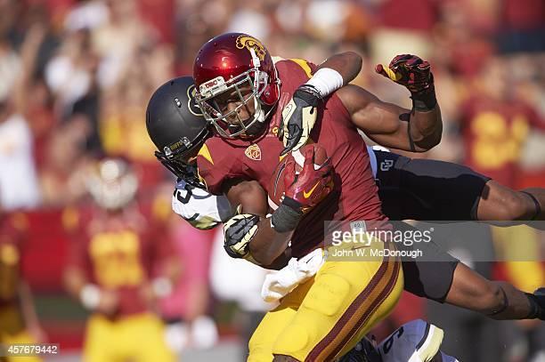 USC JuJu Smith in action vs Colorado Ahkello Witherspoon at Los Angeles Memorial Coliseum Los Angeles CA CREDIT John W McDonough