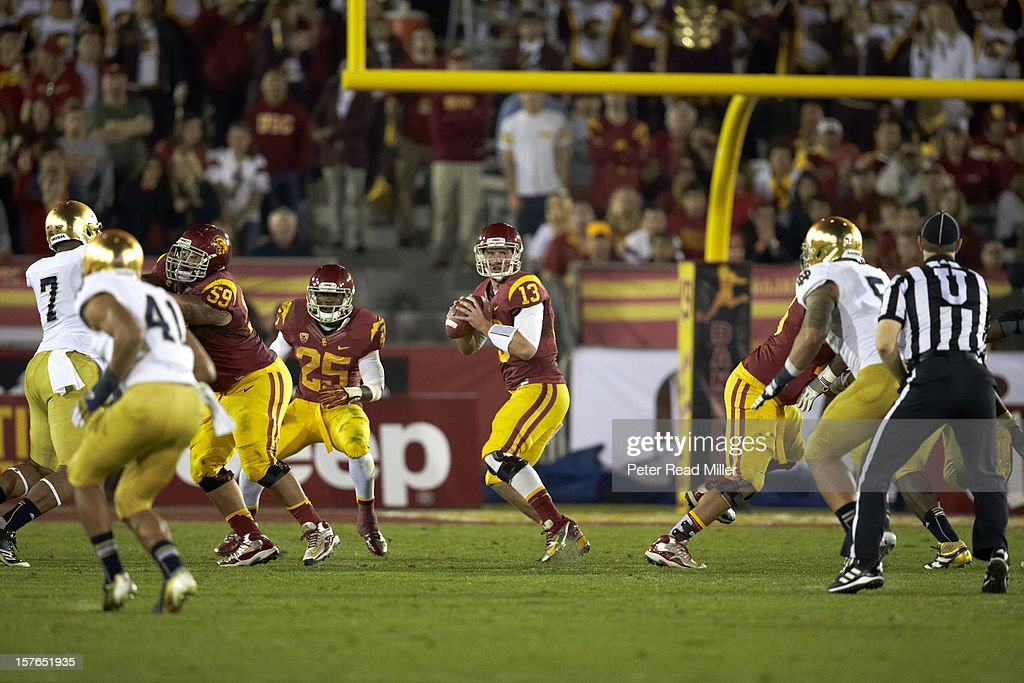 Max Wittek (13) in action vs Notre Dame at Los Angeles Memorial Coliseum. Peter Read Miller X155814 TK1 R1 F763 )