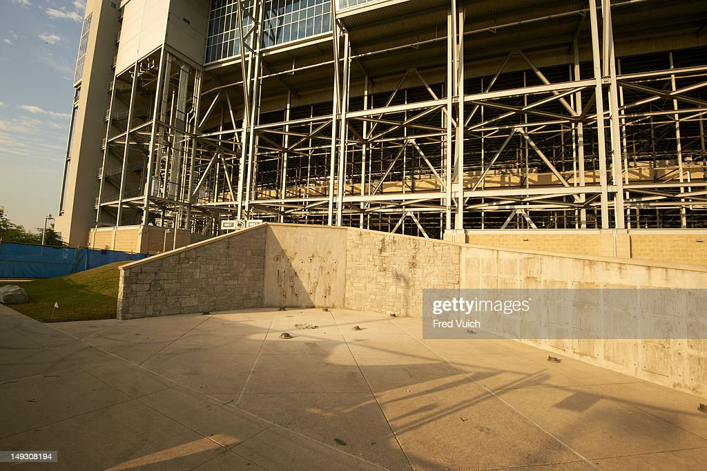 View of empty space following removal of statue of former Penn State football coach Joe Paterno outside of Beaver Stadium. We Were Penn State story. Fred Vuich F9 )