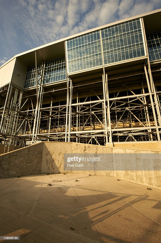 View of empty space following removal of statue of former Penn State football coach Joe Paterno outside of Beaver Stadium. We Were Penn State story. Fred Vuich F15 )