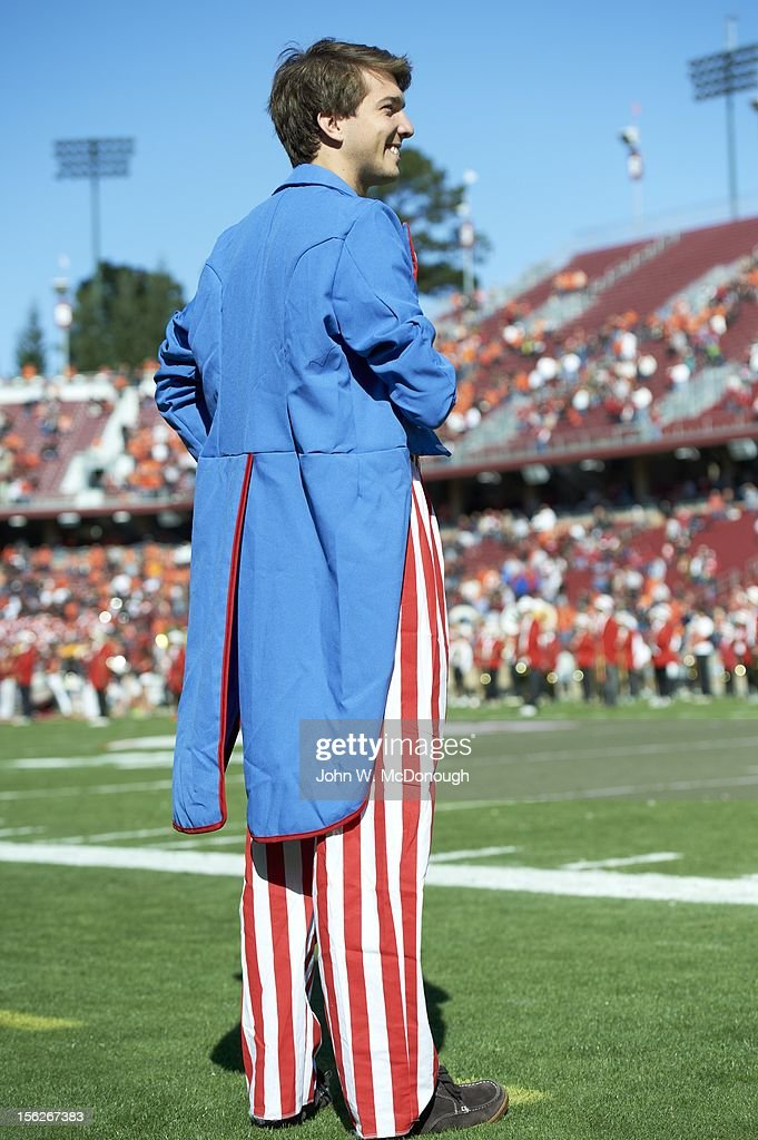 View of Stanford fan on sidelines during game vs Oregon State at Stanford Stadium. John W. McDonough F6 )