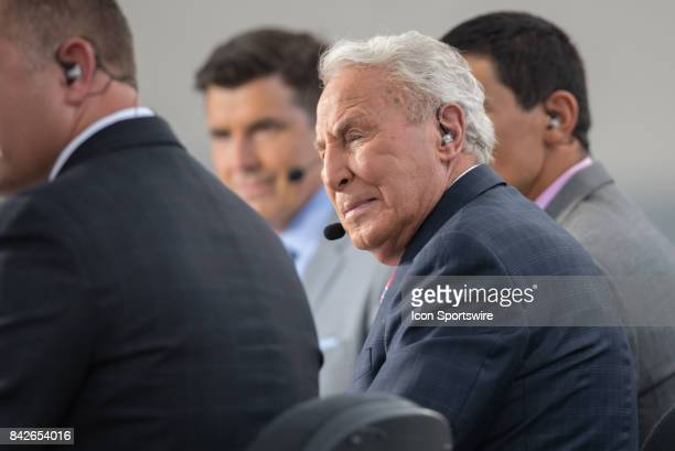 College GameDay analyst Lee Corso on set prior to a college football game between the Ohio State Buckeyes and the Indiana Hoosiers on August 31 2017...