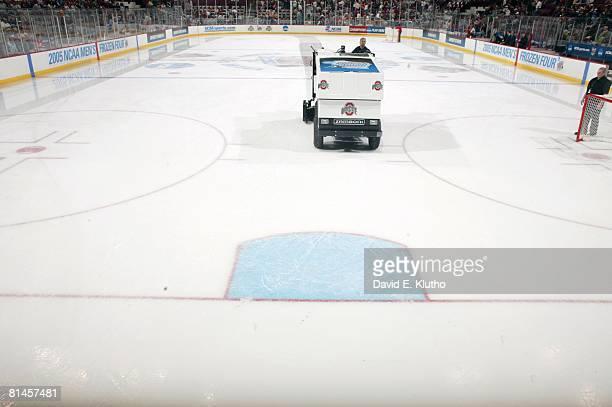 College Hockey NCAA Frozen Four finals Zamboni equipment resurfacing ice during intermission of North Dakota vs Denver championship game Columbus OH...