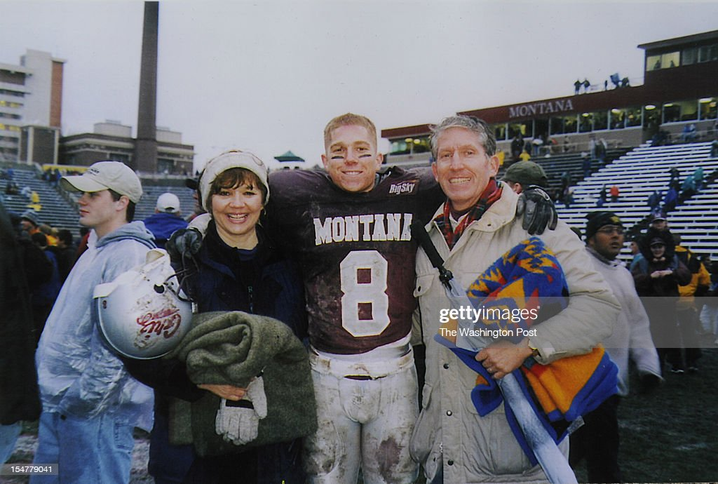 College photo of candidate for the U.S. House of Representatives, Jimmy Farris, center, with his mother, Sharon Farris, left, and his father, Robert Farris following a football game while Jimmy was attending the University of Montana. He is a former professional football player, who played with the Washington Redskins among other teams. He was a member of the New England Patriots when they won Super Bowl XXXVI. He grew up in Lewiston, ID.