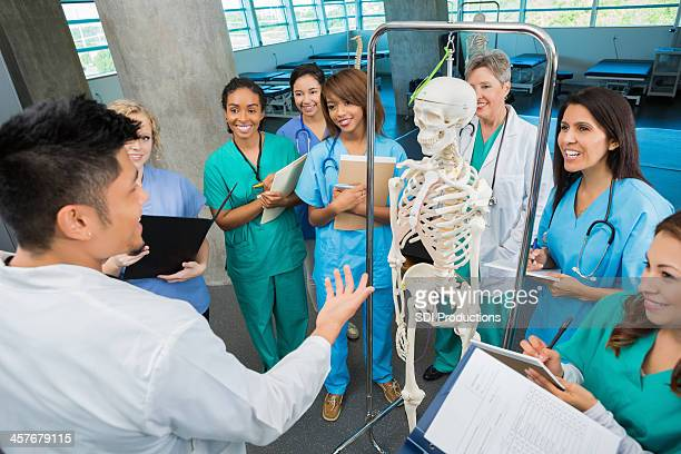 College professor teaching anatomy class to nursing or medical students