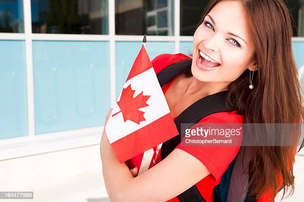 College student in summer school on Canada Day