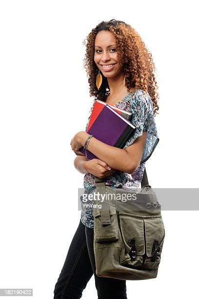 Student Schwarze afrikanische Herkunft, isoliert auf weißem Hintergrund