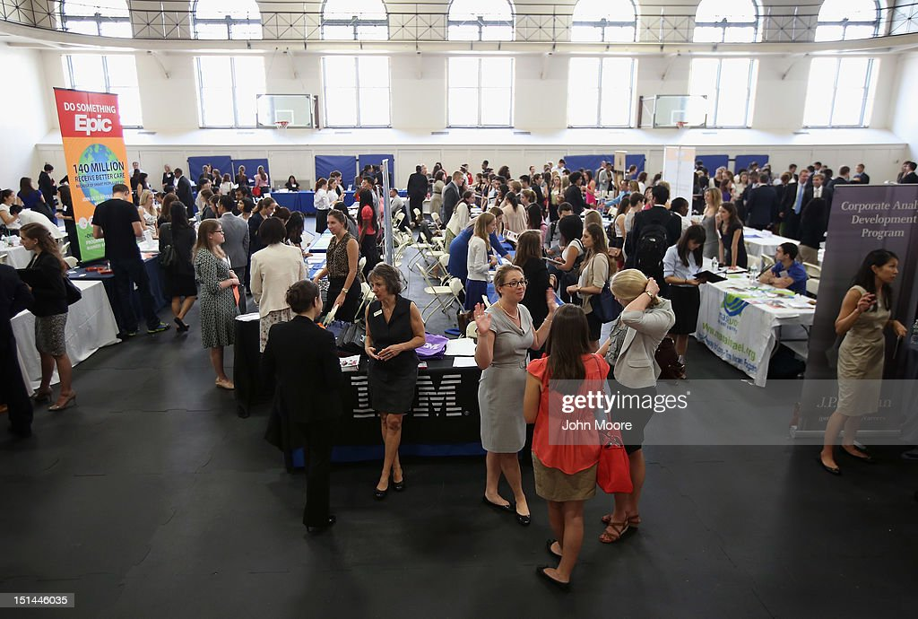 College students and potential employers meet at the Barnard College Career Fair on September 7, 2012 in New York City. Barnard, which is the undergraduate women's college of Columbia University, hosted the job and internship fair with nearly 100 companies and organizations attending.