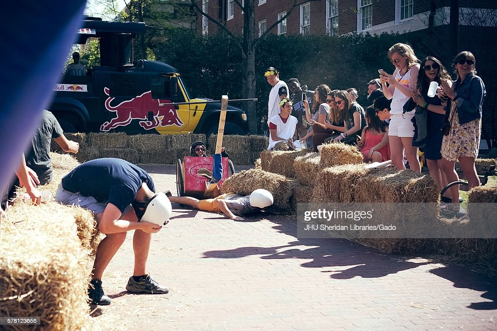 College students compete in the annual Red Bull Chariot Race at the 2016 Spring Fair an annual festival featuring music food vendors and various...