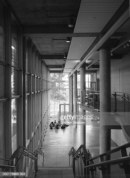 College students having group discussions, elevated view (B&W)