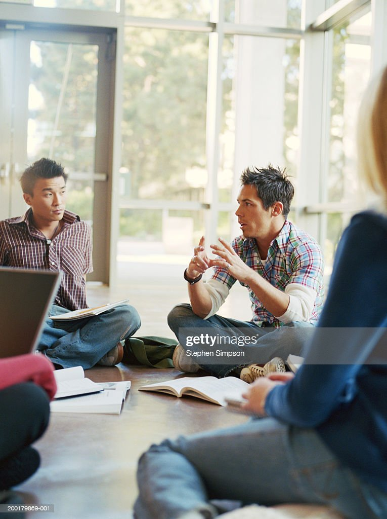 College students having group discussions : Stock Photo