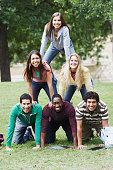 College Students in Human Pyramid