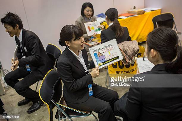 College students listen to an information session at the Mynavi Shushoku MEGA EXPO at the Tokyo Big Sight on March 8 2015 in Tokyo Japan 70000...