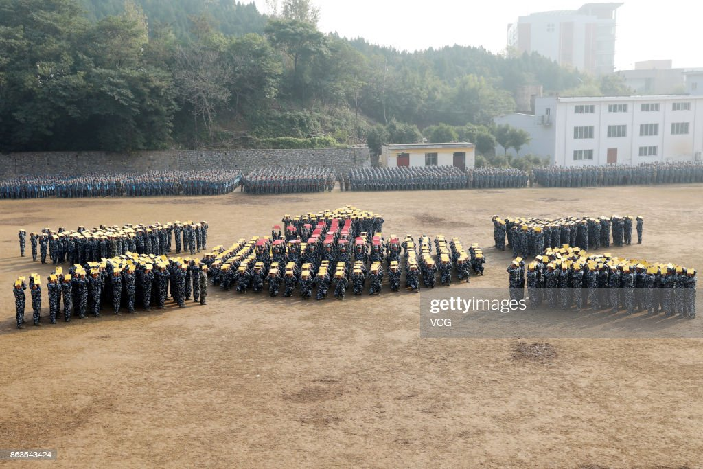 College Students Stage Military Training Performance In Anhui