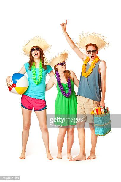 College Students on Springbreak Going to Beach Vacation on White Background