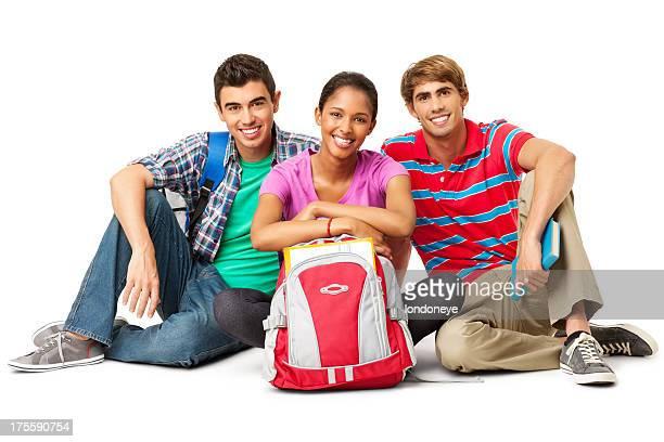 College-Studenten sitzen auf dem Boden zusammen-isoliert