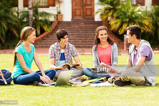 College Students Studying On University Campus