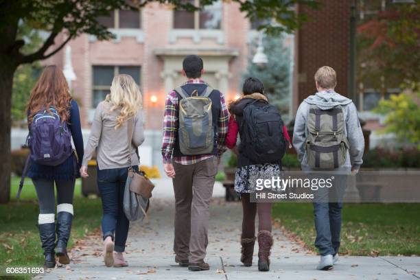 College students walking on campus
