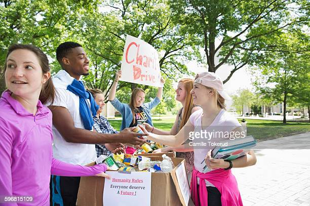 college volunteers in a charity drive