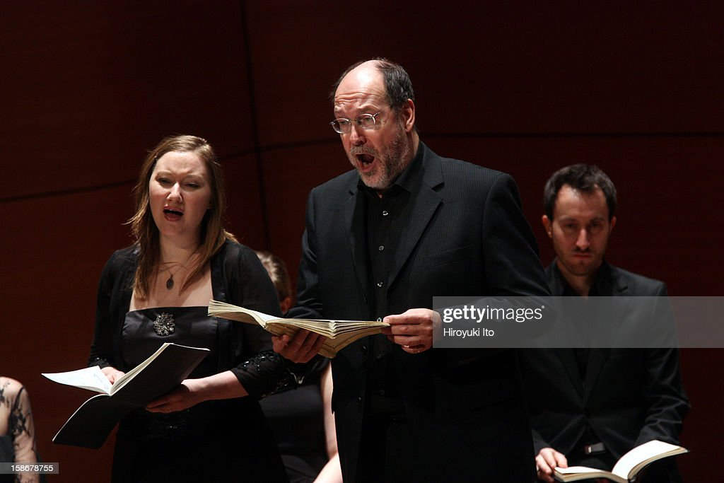 Collegium Vocale Gent in Bach's 'Christmas Oratorio' at Alice Tully Hall on Saturday night, December 15, 2012.This image:The soprano Dorothee Mields and the bass Peter Kooij.
