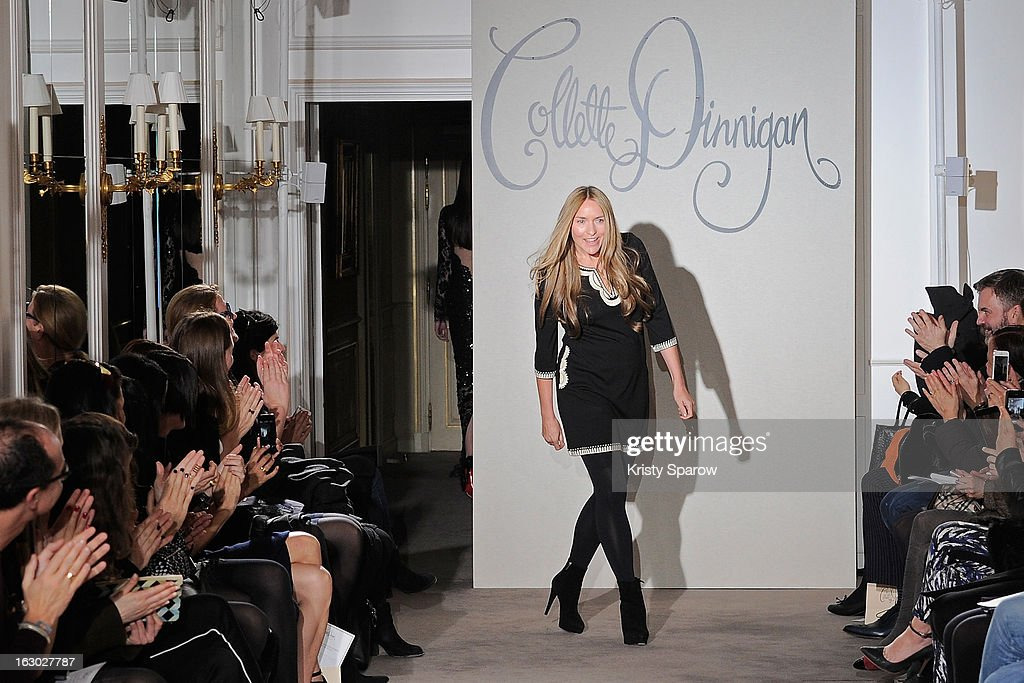 Collette Dinnigan acknowledges the crowd during the Collette Dinnigan 2013 Ready-to-Wear show as part of Paris Fashion Week at Le Meurice on March 3, 2013 in Paris, France.