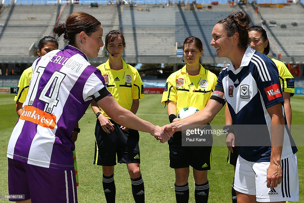 Collette McCallum of the Glory and Danielle Johnson of the Victory shake hands after the coin toss during the W-League Semi Final match between Perth Glory and Melbourne Victory at nib Stadium on January 20, 2013 in Perth, Australia.
