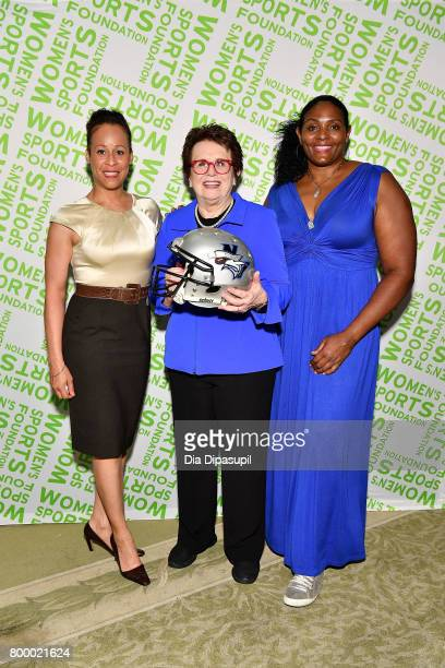 Collette Smith Billie Jean King and Kym Hampton attend the Women's Sports Foundation 45th Anniversary of Title IX celebration at the NewYork...
