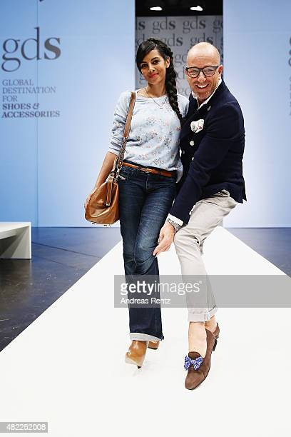 Collien UlmenFernandes and Thomas Rath attend the first day of the GDS Global Destination for Shoes Accessories tradeshow on July 29 2015 in...