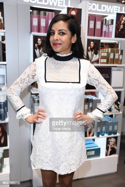 Collien UlmenFernandes poses for the new Kerasilk by Goldwell line at the Beauty Top Hair Fair on April 2 2017 in Duesseldorf Germany