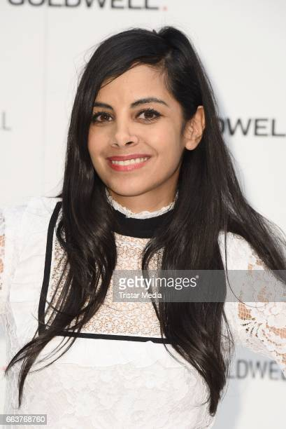 Collien UlmenFernandes promotes the new Kerasilk by Goldwell line at the Beauty Top Hair Fair on April 2 2017 in Duesseldorf Germany