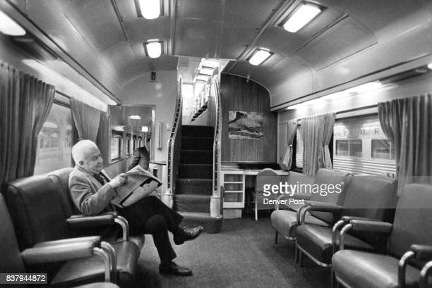 E A Collier 1155 Ash St Relaxes in Newly Refurbished Lounge Car Of Rio Grande Zephyr Collier boarded the train in Denver bound for Glenwood Springs...