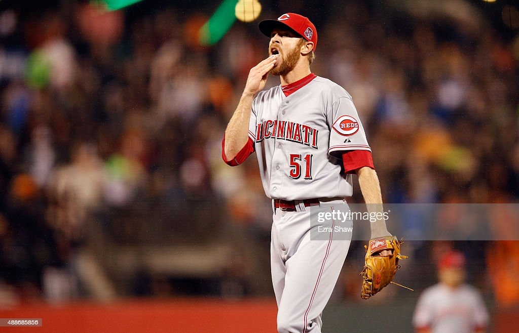<a gi-track='captionPersonalityLinkClicked' href=/galleries/search?phrase=Collin+Balester&family=editorial&specificpeople=4424735 ng-click='$event.stopPropagation()'>Collin Balester</a> #51 of the Cincinnati Reds reacts after giving up a home run to Jake Peavy #22 of the San Francisco Giants in the fouth inning at AT&T Park on September 16, 2015 in San Francisco, California.