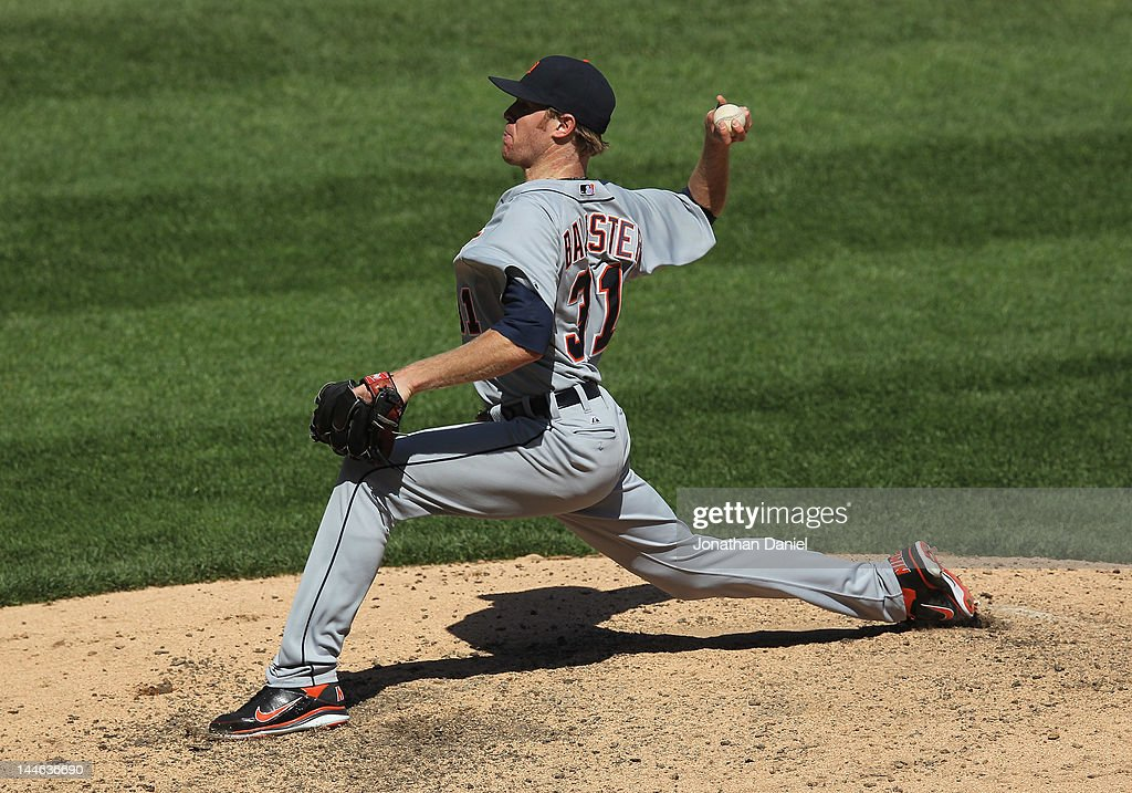 <a gi-track='captionPersonalityLinkClicked' href=/galleries/search?phrase=Collin+Balester&family=editorial&specificpeople=4424735 ng-click='$event.stopPropagation()'>Collin Balester</a> #31 of the Detroit Tigers pitches against the Chicago White Sox at U.S. Cellular Field on May 15, 2012 in Chicago, Illinois. The Tigers defeated the White Sox 10-8.