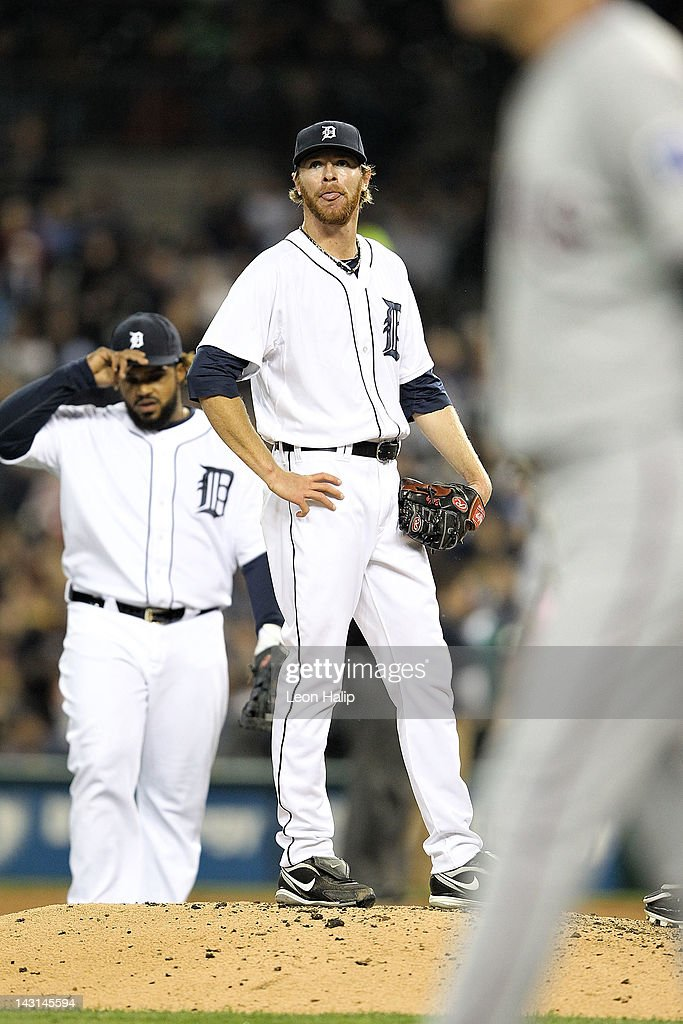 <a gi-track='captionPersonalityLinkClicked' href=/galleries/search?phrase=Collin+Balester&family=editorial&specificpeople=4424735 ng-click='$event.stopPropagation()'>Collin Balester</a> #31 of the Detroit Tigers reacts to an infield single by <a gi-track='captionPersonalityLinkClicked' href=/galleries/search?phrase=Adrian+Beltre&family=editorial&specificpeople=202631 ng-click='$event.stopPropagation()'>Adrian Beltre</a> of the Texas Rangers in the sixth inning during the game at Comerica Park on April 19, 2012 in Detroit, Michigan. The Rangers defeated the Tigers 10-3.