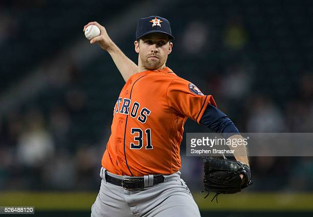 Collin McHugh of the Houston Astros delivers a pitch during a game against the Seattle Mariners at Safeco Field on April 27 2016 in Seattle...
