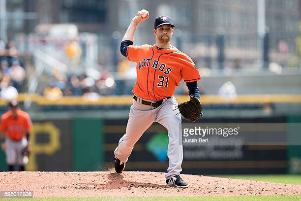 Collin McHugh of the Houston Astros delivers a pitch during the game against the Pittsburgh Pirates at PNC Park on August 24 2016 in Pittsburgh...