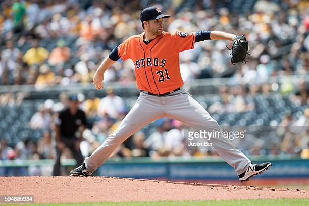Collin McHugh of the Houston Astros delivers a pitch in the first inning during the game against the Pittsburgh Pirates at PNC Park on August 24 2016...