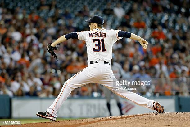 Collin McHugh of the Houston Astros pitches against the Detroit Tigers at Minute Maid Park on August 15 2015 in Houston Texas