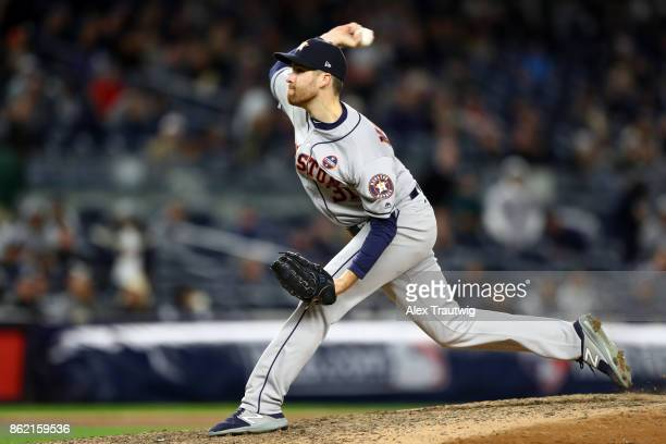 Collin McHugh of the Houston Astros pitches during Game 3 of the American League Championship Series against the New York Yankees at Yankee Stadium...
