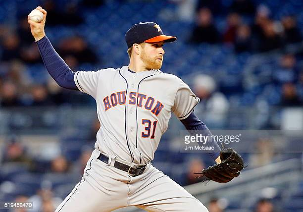 Collin McHugh of the Houston Astros pitches in the first inning against the New York Yankees at Yankee Stadium on April 6 2016 in the Bronx borough...